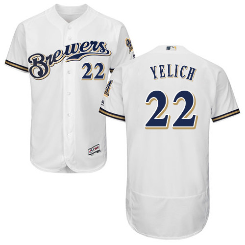 Men's Majestic Milwaukee Brewers #22 Christian Yelich White Home Flex Base Authentic Collection MLB Jersey