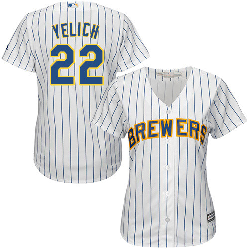 Women's Majestic Milwaukee Brewers #22 Christian Yelich Authentic White Alternate Cool Base MLB Jersey