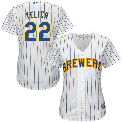 Women's Majestic Milwaukee Brewers #22 Christian Yelich Replica White Alternate Cool Base MLB Jersey