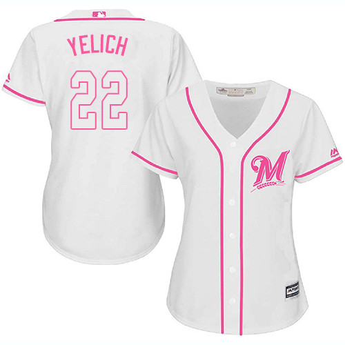 Women's Majestic Milwaukee Brewers #22 Christian Yelich Replica White Fashion Cool Base MLB Jersey