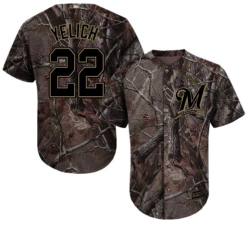 Youth Majestic Milwaukee Brewers #22 Christian Yelich Authentic Camo Realtree Collection Flex Base MLB Jersey
