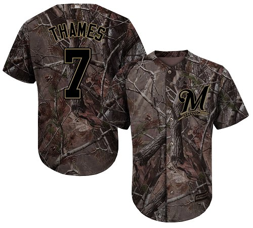 Men's Majestic Milwaukee Brewers #7 Eric Thames Authentic Camo Realtree Collection Flex Base MLB Jersey