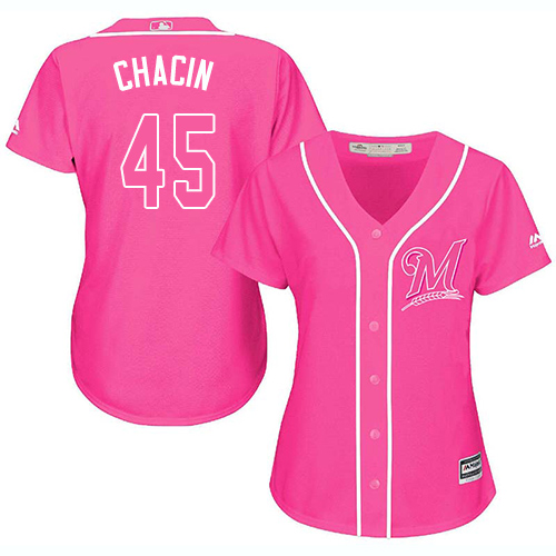 Women's Majestic Milwaukee Brewers #45 Jhoulys Chacin Authentic Pink Fashion Cool Base MLB Jersey