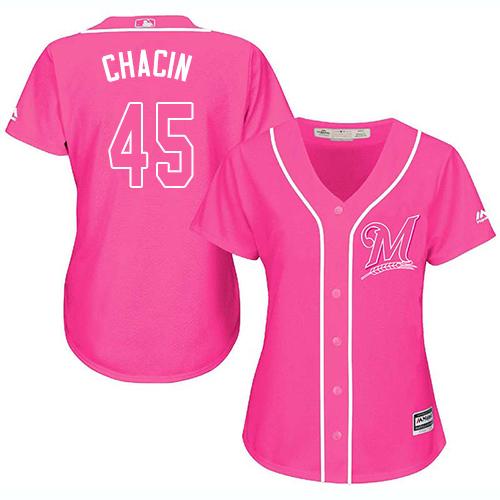 Women's Majestic Milwaukee Brewers #45 Jhoulys Chacin Replica Pink Fashion Cool Base MLB Jersey