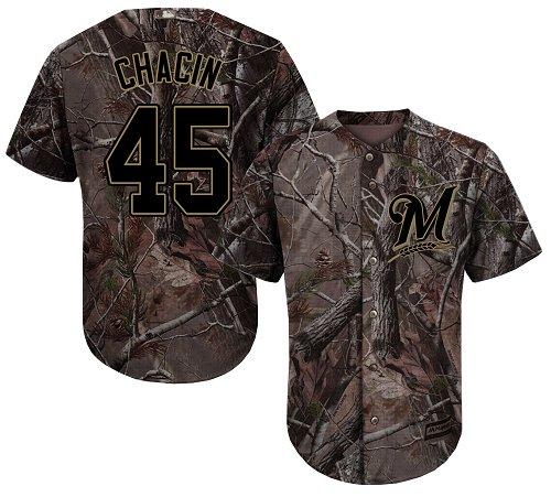 Youth Majestic Milwaukee Brewers #45 Jhoulys Chacin Authentic Camo Realtree Collection Flex Base MLB Jersey