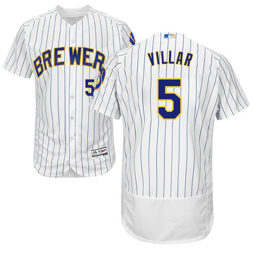 Men's Majestic Milwaukee Brewers #5 Jonathan Villar White/Royal Flexbase Authentic Collection MLB Jersey
