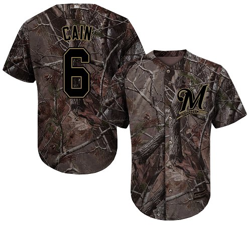 Men's Majestic Milwaukee Brewers #6 Lorenzo Cain Authentic Camo Realtree Collection Flex Base MLB Jersey