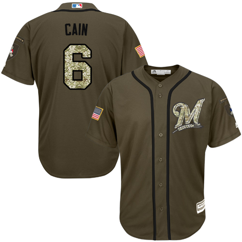 Men's Majestic Milwaukee Brewers #6 Lorenzo Cain Authentic Green Salute to Service MLB Jersey