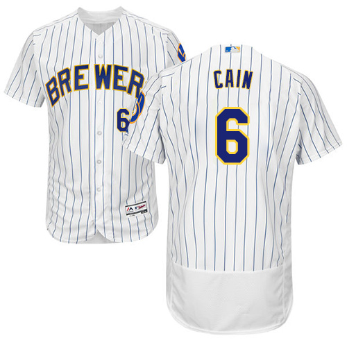 Men's Majestic Milwaukee Brewers #6 Lorenzo Cain White Home Flex Base Authentic Collection MLB Jersey