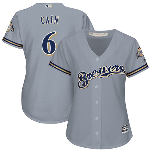 Women's Majestic Milwaukee Brewers #6 Lorenzo Cain Replica Grey Road Cool Base MLB Jersey