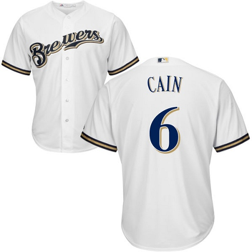 Youth Majestic Milwaukee Brewers #6 Lorenzo Cain Replica White Alternate Cool Base MLB Jersey