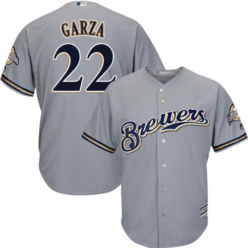 Men's Majestic Milwaukee Brewers #22 Matt Garza Replica Grey Road Cool Base MLB Jersey