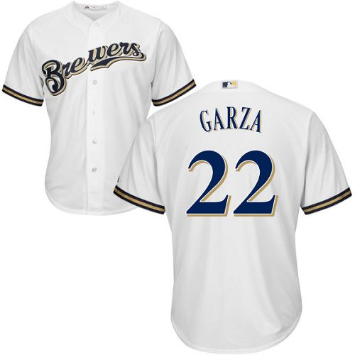 Men's Majestic Milwaukee Brewers #22 Matt Garza Replica White Home Cool Base MLB Jersey