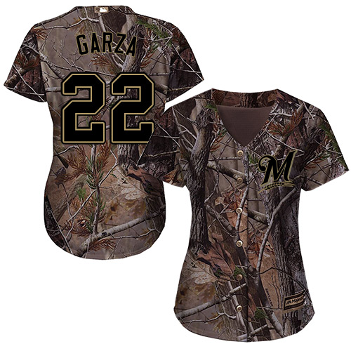 Women's Majestic Milwaukee Brewers #22 Matt Garza Authentic Camo Realtree Collection Flex Base MLB Jersey