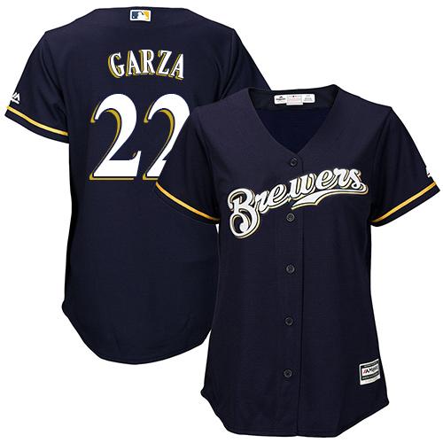 Women's Majestic Milwaukee Brewers #22 Matt Garza Authentic Navy Blue Alternate Cool Base MLB Jersey