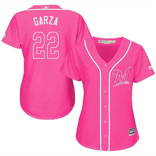 Women's Majestic Milwaukee Brewers #22 Matt Garza Authentic Pink Fashion Cool Base MLB Jersey