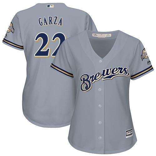 Women's Majestic Milwaukee Brewers #22 Matt Garza Replica Grey Road Cool Base MLB Jersey