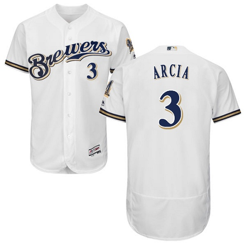 Men's Majestic Milwaukee Brewers #3 Orlando Arcia White Flexbase Authentic Collection MLB Jersey