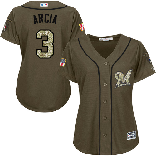 Women's Majestic Milwaukee Brewers #3 Orlando Arcia Authentic Green Salute to Service MLB Jersey