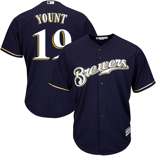 Men's Majestic Milwaukee Brewers #19 Robin Yount Replica Navy Blue Alternate Cool Base MLB Jersey