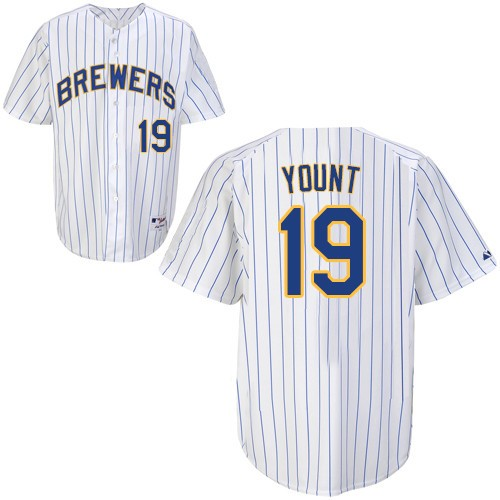 Men's Majestic Milwaukee Brewers #19 Robin Yount Replica White (blue strip) MLB Jersey