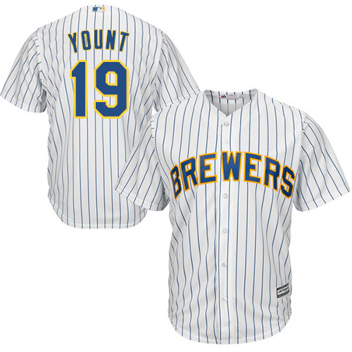 Men's Majestic Milwaukee Brewers #19 Robin Yount Replica White Alternate Cool Base MLB Jersey