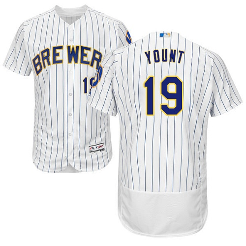 Men's Majestic Milwaukee Brewers #19 Robin Yount White Home Flex Base Authentic Collection MLB Jersey