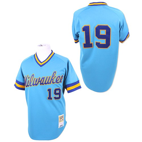 Men's Mitchell and Ness Milwaukee Brewers #19 Robin Yount Authentic Blue Throwback MLB Jersey