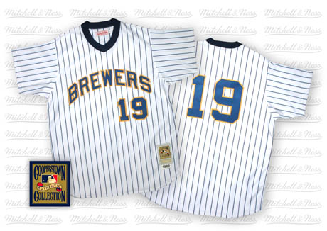 Men's Mitchell and Ness Milwaukee Brewers #19 Robin Yount Replica White/Blue Strip Throwback MLB Jersey