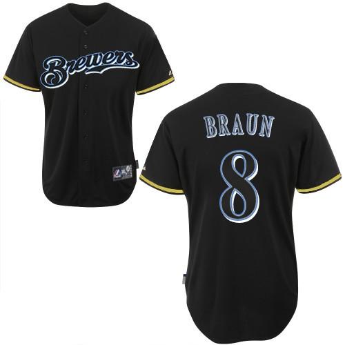Men's Majestic Milwaukee Brewers #8 Ryan Braun Authentic Black Fashion MLB Jersey