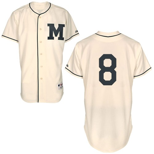 Men's Majestic Milwaukee Brewers #8 Ryan Braun Authentic Cream 1913 Turn Back The Clock MLB Jersey