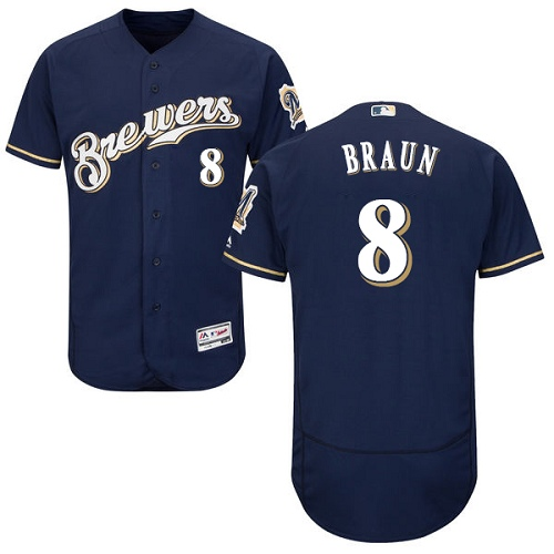Men's Majestic Milwaukee Brewers #8 Ryan Braun Navy Blue Alternate Flex Base Authentic Collection MLB Jersey