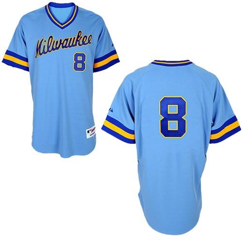 Men's Majestic Milwaukee Brewers #8 Ryan Braun Replica Blue 1982 Turn Back The Clock MLB Jersey