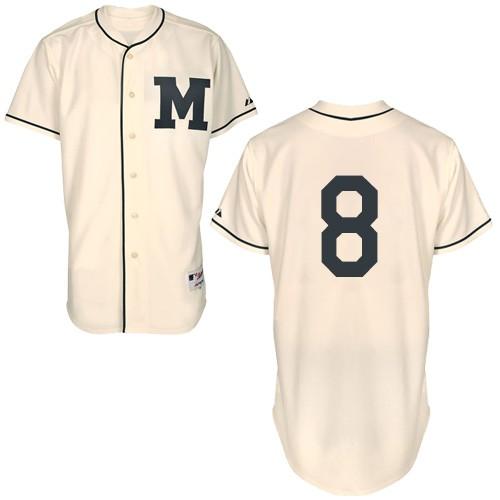 Men's Majestic Milwaukee Brewers #8 Ryan Braun Replica Cream 1913 Turn Back The Clock MLB Jersey