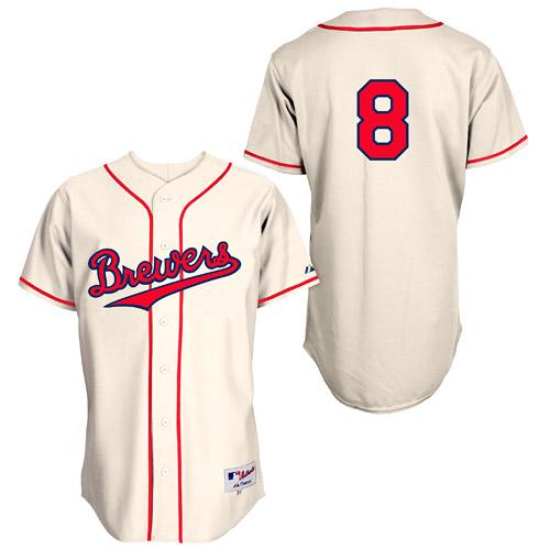 Men's Majestic Milwaukee Brewers #8 Ryan Braun Replica Cream 1948 Turn Back The Clock MLB Jersey