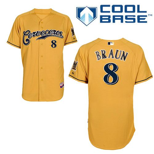 Men's Majestic Milwaukee Brewers #8 Ryan Braun Replica Gold Cerveceros Cool Base MLB Jersey