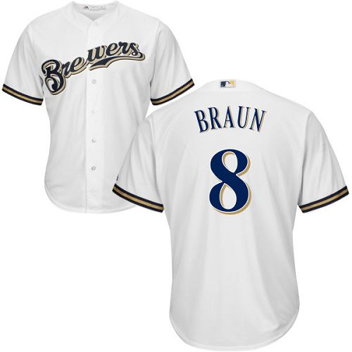 Men's Majestic Milwaukee Brewers #8 Ryan Braun Replica White Home Cool Base MLB Jersey