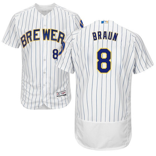 Men's Majestic Milwaukee Brewers #8 Ryan Braun White Home Flex Base Authentic Collection MLB Jersey