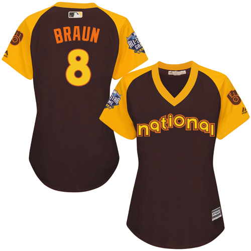 Women's Majestic Milwaukee Brewers #8 Ryan Braun Authentic Brown 2016 All-Star National League BP Cool Base MLB Jersey