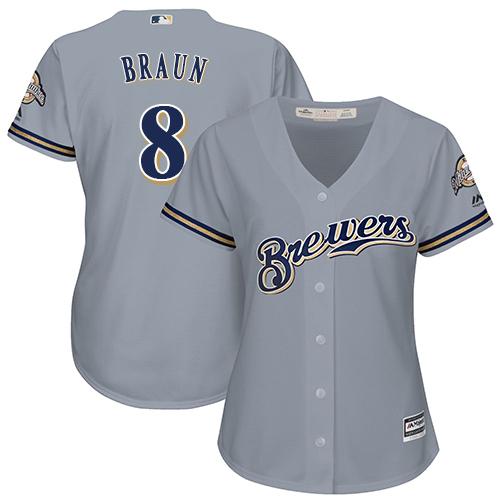 Women's Majestic Milwaukee Brewers #8 Ryan Braun Replica Grey Road Cool Base MLB Jersey