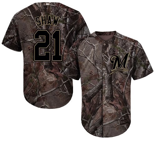 Men's Majestic Milwaukee Brewers #21 Travis Shaw Authentic Camo Realtree Collection Flex Base MLB Jersey