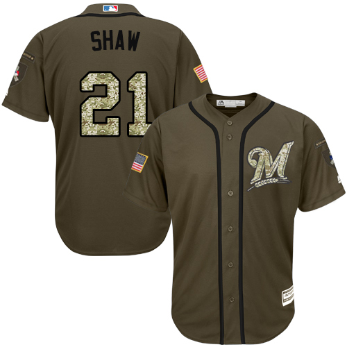 Men's Majestic Milwaukee Brewers #21 Travis Shaw Authentic Green Salute to Service MLB Jersey