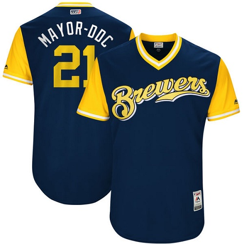 Men's Majestic Milwaukee Brewers #21 Travis Shaw