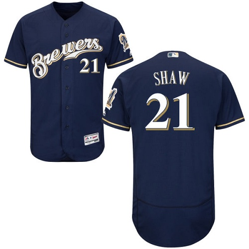 Men's Majestic Milwaukee Brewers #21 Travis Shaw Navy Blue Flexbase Authentic Collection MLB Jersey
