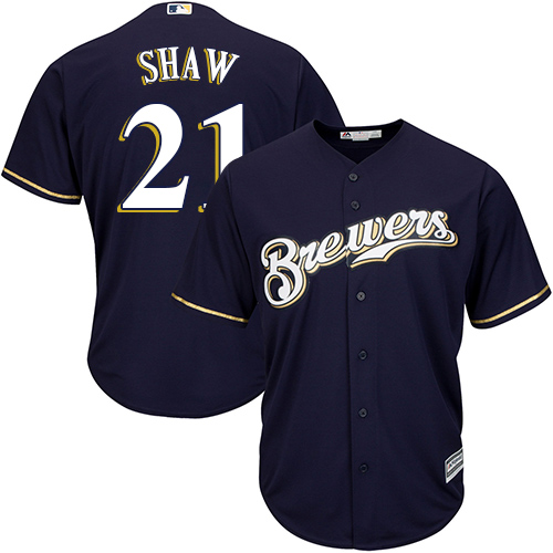 Men's Majestic Milwaukee Brewers #21 Travis Shaw Replica Navy Blue Alternate Cool Base MLB Jersey