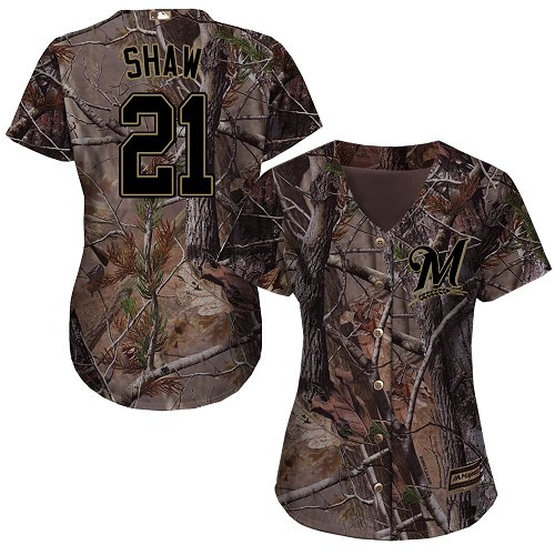 Women's Majestic Milwaukee Brewers #21 Travis Shaw Authentic Camo Realtree Collection Flex Base MLB Jersey
