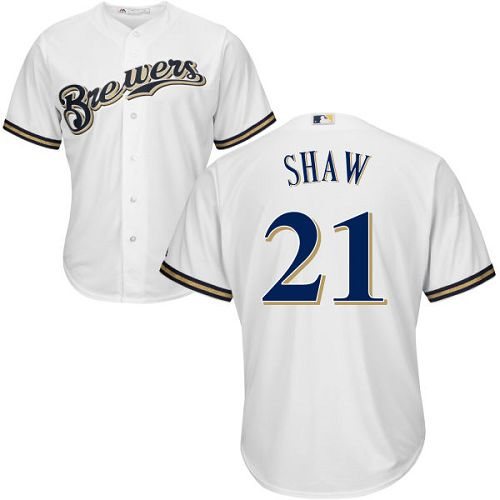 Youth Majestic Milwaukee Brewers #21 Travis Shaw Replica White Home Cool Base MLB Jersey