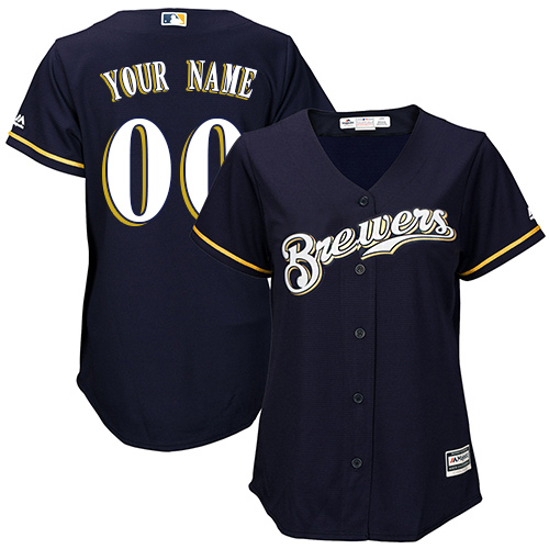 Women's Majestic Milwaukee Brewers Customized Authentic Navy Blue Alternate Cool Base MLB Jersey