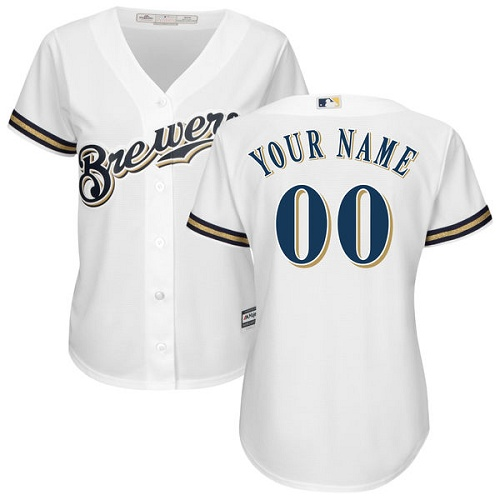 Women's Majestic Milwaukee Brewers Customized Replica White Home Cool Base MLB Jersey