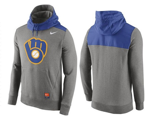 MLB Men's Milwaukee Brewers Nike Gray Cooperstown Collection Hybrid Pullover Hoodie